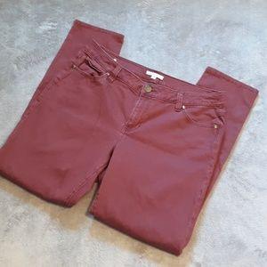 CAbi women's size 16 maroon skinny jeans